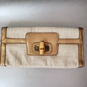 Cache Vintage Clutch Gold  Bamboo Toggle Closure